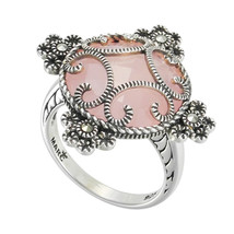 Aura 925 Sterling Silver Ice Rose Quartz & Marcasite Ring Size 7(MR01347... - £27.27 GBP