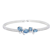 Aquamarine Blue Crystal/Clear Crystal Sterling Silver Butterfly Bangle B... - $77.99