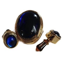 Hattie Carnegie Set Earrings Brooch Vintage Signed Glass Blue Cabochon Gold - $247.49