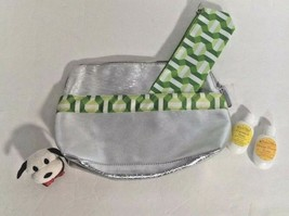 CLINIQUE Lot 2 Cosmetic Travel Bags Metallic/Silver Geometric Design NEW + gifts - $16.78