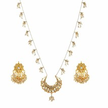 kundan Jewelry Bridal chandbali Pearl pendent Necklace Earrings Wedding ... - $38.60