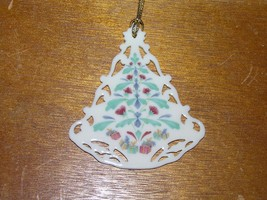 Vintage Lenox Victorian Lace Painted Cream Porcelain Christmas Tree Orna... - $23.16