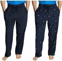 Nautica Men's Fleece Pajama Pants 2 Pack 3XL Navy Blue Sail Plaid NWOT - $23.74