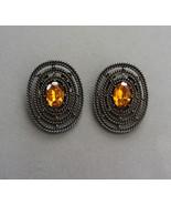 Vintage TIP TOE PAT Amber Glass Bronze Tone Metal Shoe Clips Signed - $149.00
