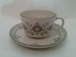 Franciscan Heritage Coffee Cup & Saucer Cream & Green - $21.18