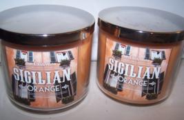 Lot of 2 Bath & Body Works Sicilian Orange 3 Wick Scented Candle w Lids ... - $32.50