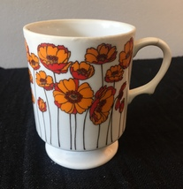 Vintage 70s Ceramic Graphic Poppy Mug from Japan