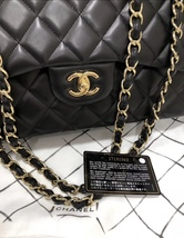 100% Authentic Chanel BLACK QUILTED LAMBSKIN JUMBO CLASSIC DOUBLE FLAP BAG GHW image 6