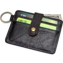 Genuine Leather Wallet Men Sport Minimalist Front Pocket with Bronze Key Ring - $24.54
