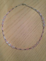 "Delicate Pinks & Clear Crystal Stones Necklace - 18+"" - Custom Made - $9.85"