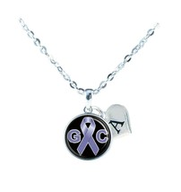 Custom Gastrointestinal Cancer Awareness Ribbon Silver Necklace Jewelry Initial - $13.94