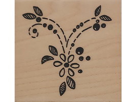 Stampendous-2001-Stitched-Scallop Wood Mounted Rubber Stamp- #D104 image 1