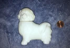 AVON Royal Pekingese White Dog Cologne Bottle Empty Milk Glass - $4.50
