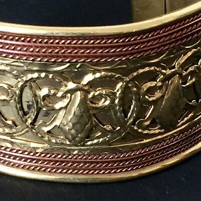 Vintage Brass Copper Cuff Bracelet Wide Handmade Multi Metal Etched Ethnic
