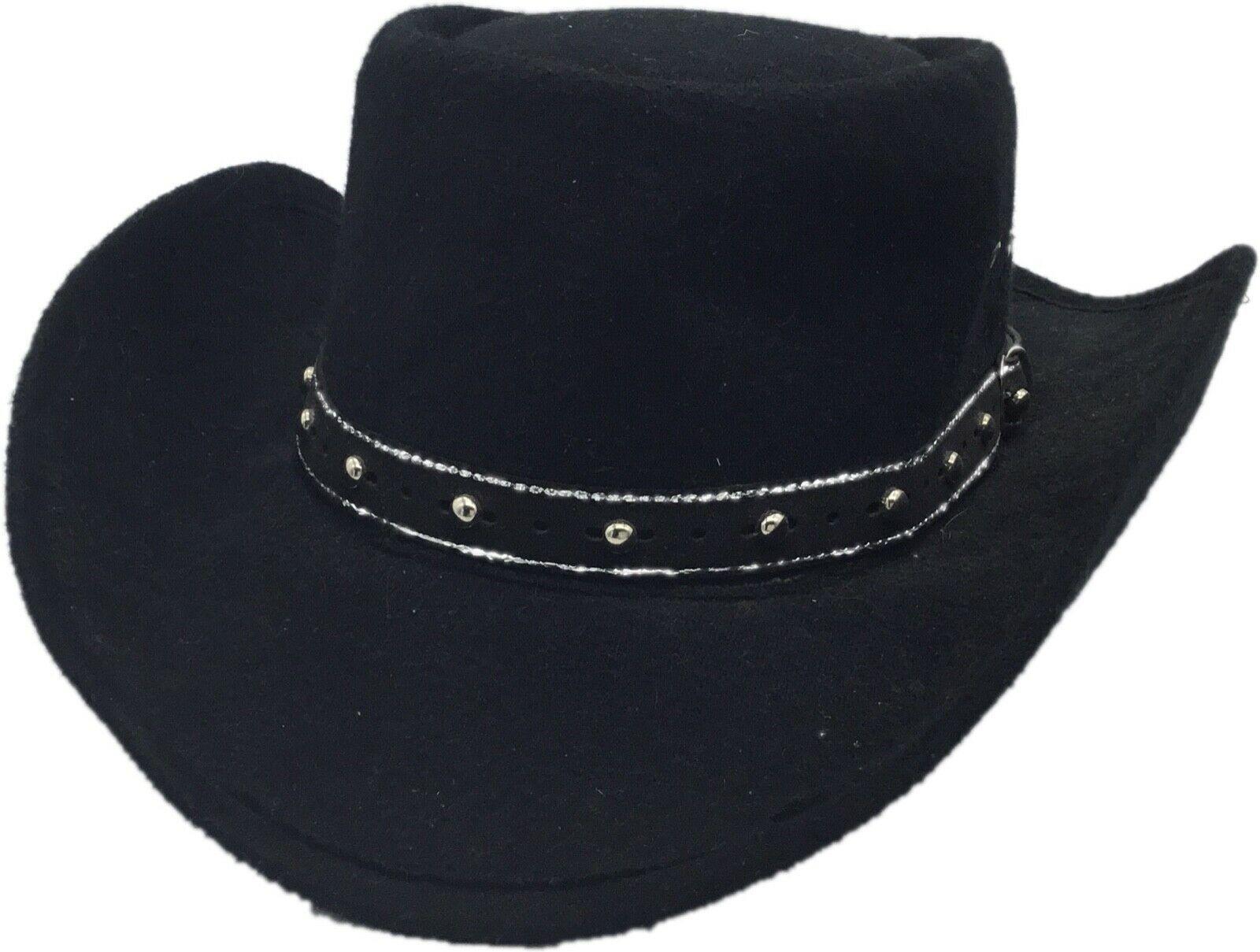 Western Express Black Faux Felt Gambler Cowboy Hat 58 Size 7 1/4 Vintage