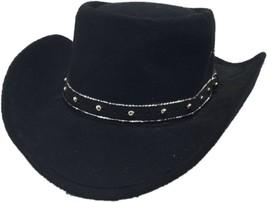 Western Express Black Faux Felt Gambler Cowboy Hat 58 Size 7 1/4 Vintage - $29.99
