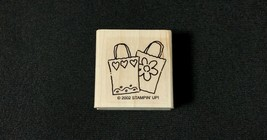 Stampin' Up Rubber Stamp Decorated Shopping Bags Wood Mount - $2.85