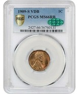 1909-S VDB 1c PCGS/CAC MS66 RB - Popular Key Date - Lincoln Cent - $7,381.70