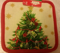 SET 2 RARE Printed Kitchen Pot Holders, SPARKLING CHRISTMAS TREE, red back - $7.91