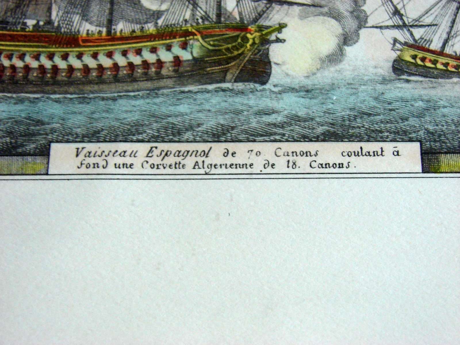 Antique Louis Philippe Crepin Naval Print Vaisseau Espagnol de 70 canons