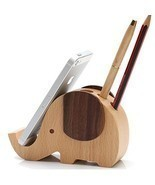 Olpchee Multifunctional Wooden Desk Pen Pencil Holder Creative Cute Elep... - $414,61 MXN