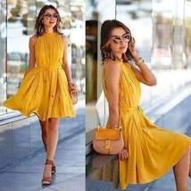 Casual Halter Chiffon Women Mini Dress With Belt - $16.22