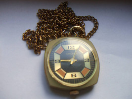 Vintage Gold Toned Customtime Mod Watch Necklace Working Condition - $25.00