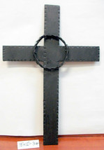 """Rustic Metal Wall Cross with Barbed Wire circle Hammered Iron 18""""x12"""" NE... - $21.21"""