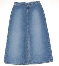 Gap Jeans Womens Riveted Skirt Size 6 Long Slit Blue Denim - $23.38