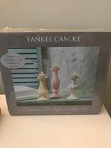 Yankee Candle 3pc Primavera Hurricane Glass Tea Light Holder Set Pastel - $49.49