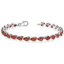 Women's Classic Sterling Silver Genuine Pear Shape Garnet Tennis Bracelet - $199.99