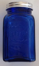 "Pepper Shaker Cobalt Blue Glass Metal Lid Square  4-1/2"" Tall - $9.11"