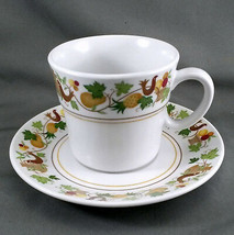 Noritake Homecoming Tea Cup and Saucer White Birds Fruit Progression 9002 - $9.90