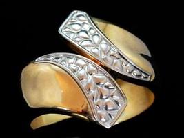 Vintage Bracelet Silver Gold Toned Hinged Cuff Bracelet 1980S - $12.59