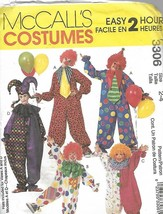 McCall's 3306 Costumes Child Toddlers Size 2-4 CLOWN Jester Easy 2 Hour Pattern - $5.93