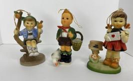 Vintage Plastic Hummel Ornaments 3 Singing Boys Girls Letters Made In Ho... - $19.75