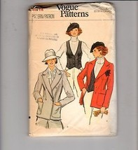 Vtg 70s Vogue Sewing Pattern #9560 Double Breasted Jacket Vest Size 14 - $12.38