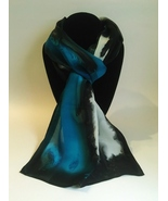 Hand Painted Silk Scarf Turquoise Green Blue Black White Unique Oblong H... - $46.00