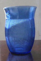 Hazel Atlas Ribbed Juice Glass In Blue Color Depression Collectible Glass - $16.00