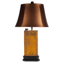 FREE SHIP: Vintage Rustic Metal Can Unique Lamp with New Oval Lampshade - $102.85