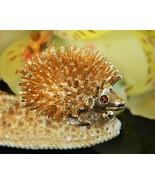 Vintage Hedgehog Porcupine Sarah Coventry Spiked Brooch Pin Amber Eyes - $17.95