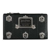 Loungefly x Harry Potter Hogwarts Houses Crests Bifold Wallet black - $38.99