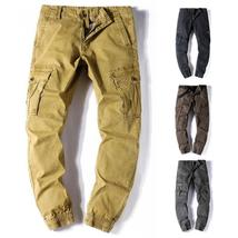 Men's Casual Loose Long Pant Multi Pockets Mid Waist Cargo Pants Combat Tactical