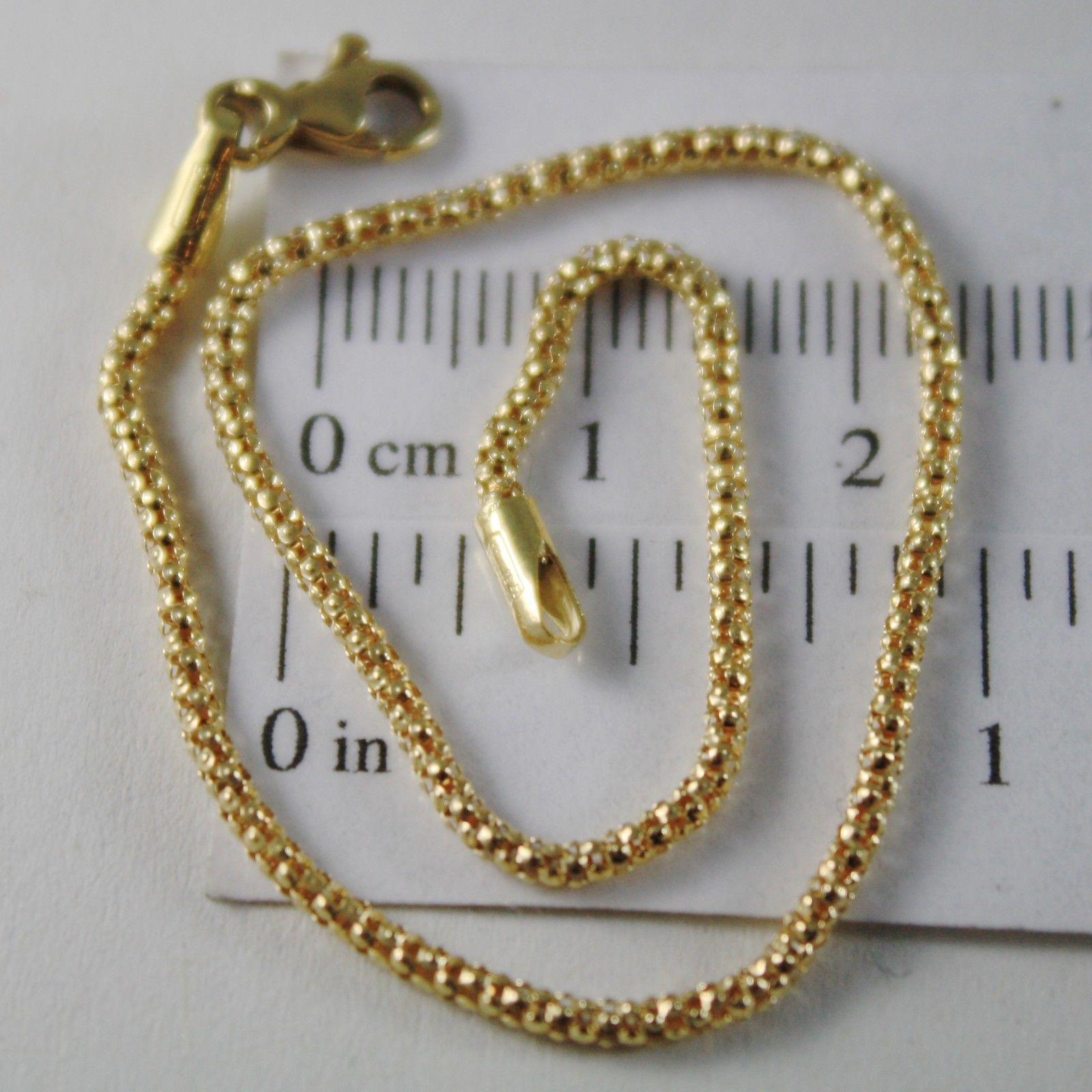 18K YELLOW GOLD BRACELET, BASKET ROUND MESH, 7.50 INCHES LONG, MADE IN ITALY