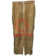 Men's New Native American Buckskin Beige Buffalo Suede Leather Fringe Pa... - $114.94+