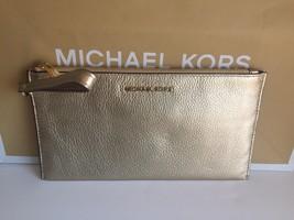 MICHAEL KORS JET SET TRAVEL LARGE ZIP CLUTCH WRISTLET GOLD LEATHER SMALL... - $54.50