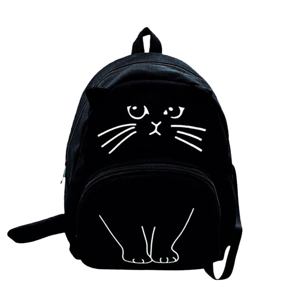 Lovely Cat Printing Backpack Women Canvas School Backpack For Teenagers