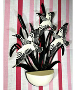 Marvelous Vintage Mid Century Flying Geese & Cattail Plastic Wall Pocket... - $30.00
