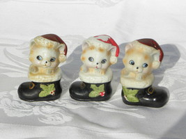 3 Vintage Homco Christmas Kittens or Cats in Black Stockings Figures #8903 - $10.99
