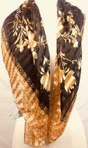 Liz Claiborne Scarf - Black, Gold, Ivory - Career Wear 35 Inch L x 35 In... - $12.19